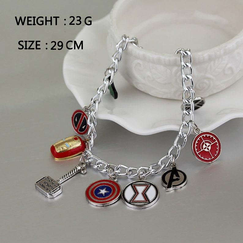Superheros silver pendant bracelet Dismountable Marvel-themed The Avengers bracelet The Avengers Jewelry Marvel Bracelet