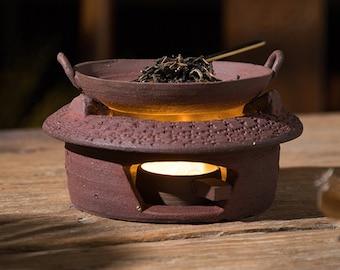 Manual Red Clay Baking Tea Stove, Tea Flavoring Device, Baking Stove, Gongfu Tea Stove, Tea Waking Device, Warm Tea Container,Tea Art