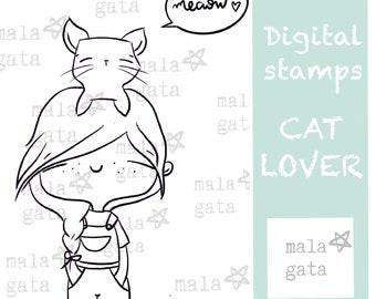 CAT LOVER digital seal. Digistamp. Digital stamp.