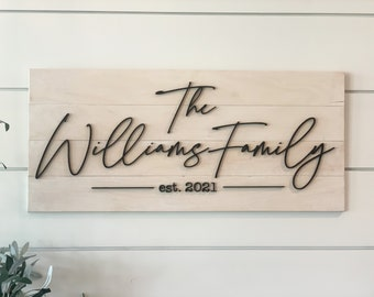Modern Farmhouse Family Name Sign, Personalized Gift for Newly Engaged Couple with Wedding Date and Last Name, Farmhouse Wall Decor Foyer