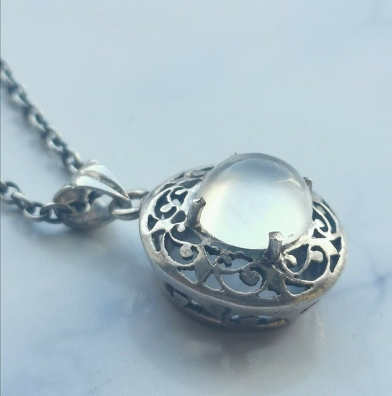 Antique Edwardian Silver And Moonstone Necklace 19