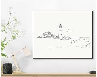 Portland Head Light Maine Lighthouse Minimalist Line Drawing Print -- 5x7 or 8x10