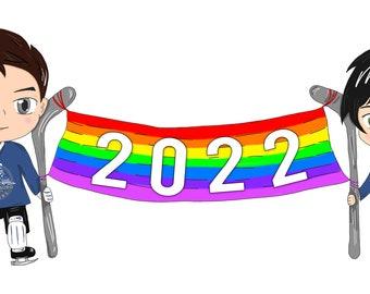 2022 Chibi Diary, 2022 Chibi Desk Calendar, and signed hockey paperback