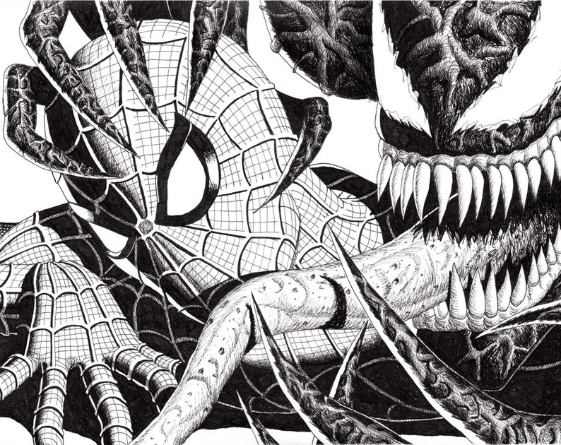 Spider-Man & Venom Drawing  Pen and Ink image 0