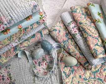 Vintage Quilt Pieces Duck Egg / Robbins Egg Blue, Fabric Remnants Bundle for Slow Stitching and Journaling