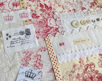 Slow Stitch Kit- Vintage French Fabric Toile De Jouy Bundle , Antique Linen and Lace for Slow Stitching and Journaling