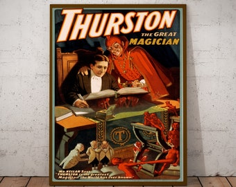 Vintage magician show poster print weird gothic horror antique victorian advertisment for illusionist Howard Thurston oddities gallery