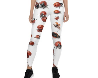 Ready to Ship Flowers Ladybugs on Teal Buttery Soft Leggings Shorts Butterfly