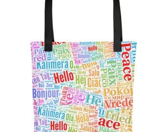 Hello and Peace in Multiple Languages Tote bag   Multilingual Linguist tote Bag   World Travel Tote Bag   Teacher Tote Bag Gift