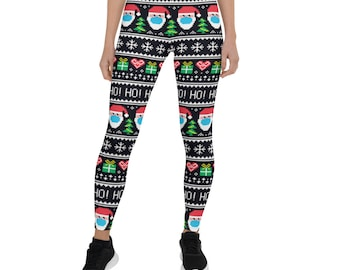 Christmas Leggings Women, Christmas Yoga Pants, Workout Leggings, Holiday Festival Leggings, Patterned Leggings, Exercise Fitness Leggings