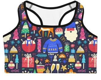 Christmas Women Bra, Colorful Sports Bra, Women Sports Bra, Printed Bra, Women Activewear, Running Bra, Fitness Bra, Christmas Gifts