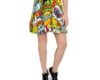 Comic Book Skater Skirt/Super Hero Skater Skirt/Juniors Skater Skirt/Circle Skirt/Comic Lover/Comic Book Skirt/Comic Book Wear