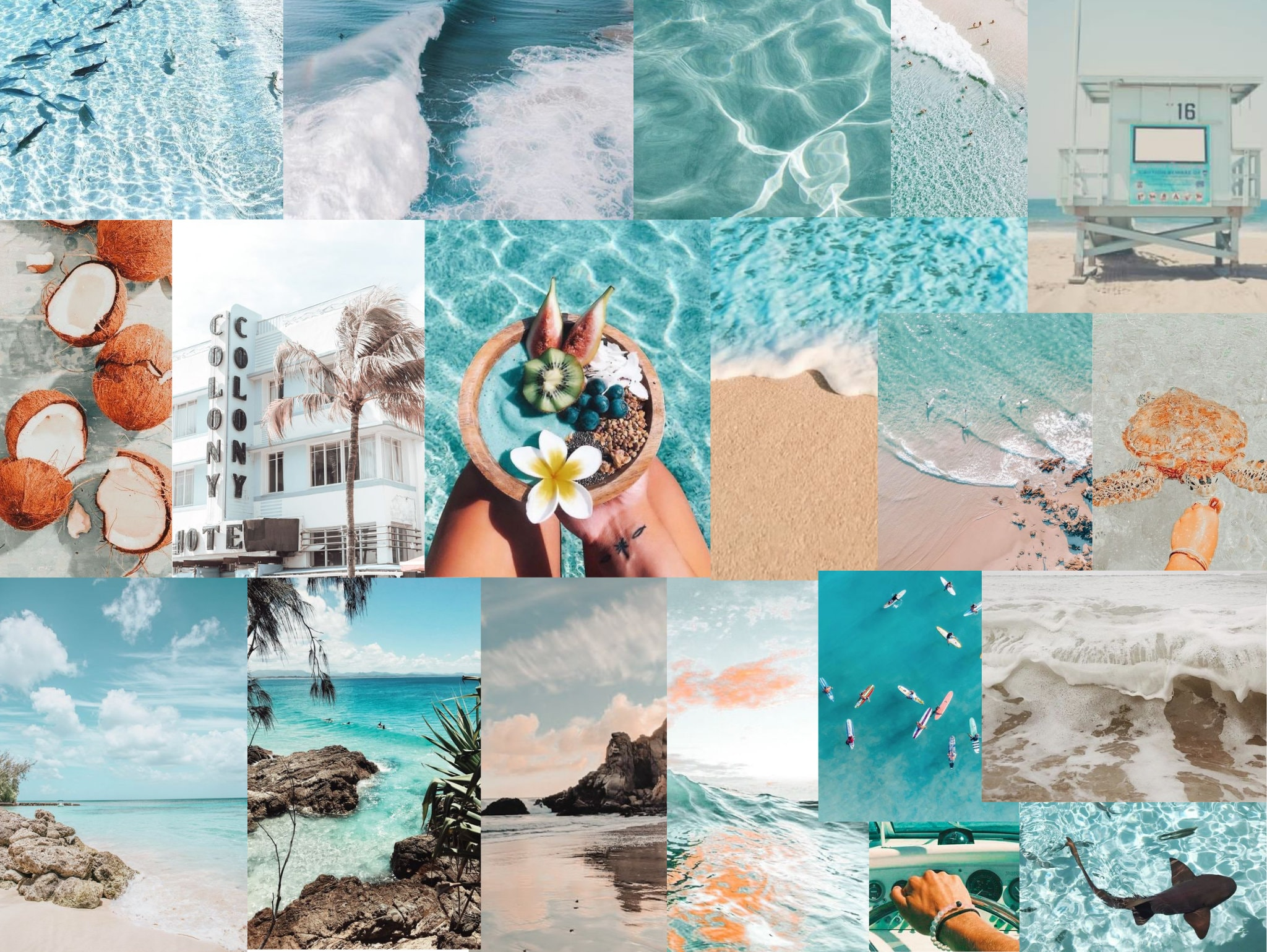 aesthetic light blue digital collage wallpaper