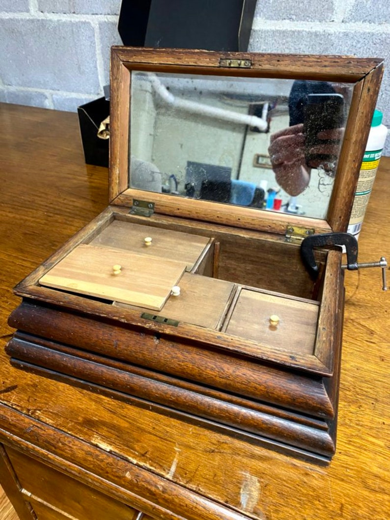 Antique Wood Jewelry Box with Mirrored Lid