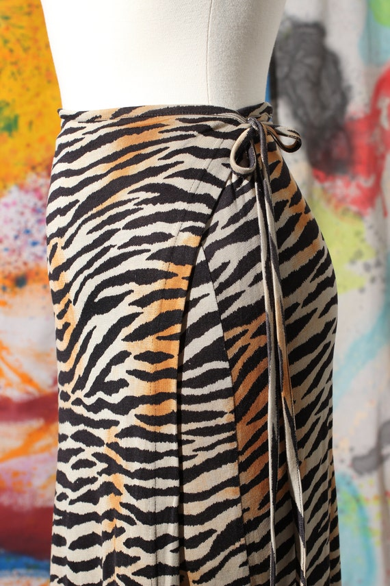 90s Silk Animal Print Wrap Maxi Skirt