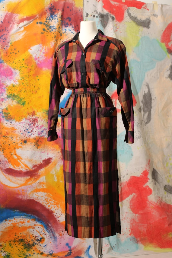 Early 90s Cotton Plaid Blouse and Skirt Set