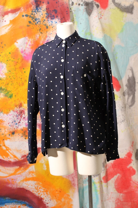Early 90s does 40s Liz Claiborne Rayon Polka Dot B