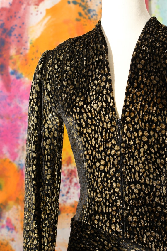 1970s/80s Pauline Trigere Silk Velvet Cheetah Pri… - image 5