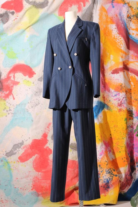 80s Anne Klein II Wool Navy Pinstripe Pant Suit Se
