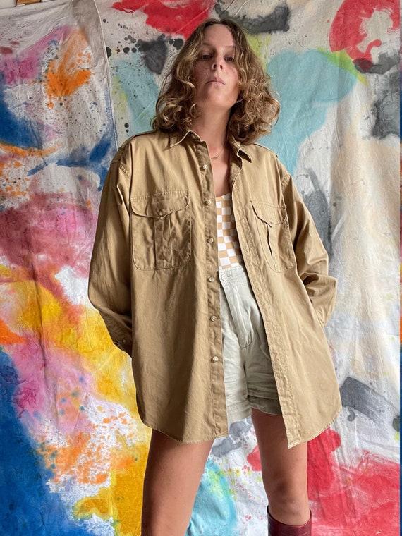 1980s Ralph Lauren Khaki Cotton Safari Shirt / M - image 1