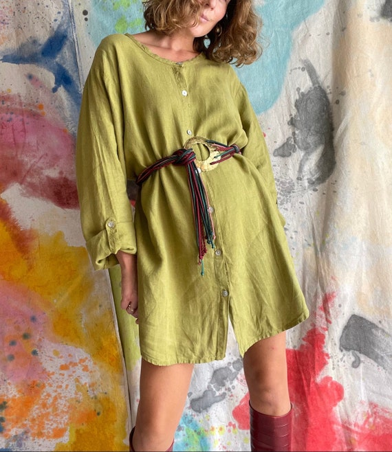 1990s Flax Linen Chartreuse Button Up Long Sleeve… - image 1
