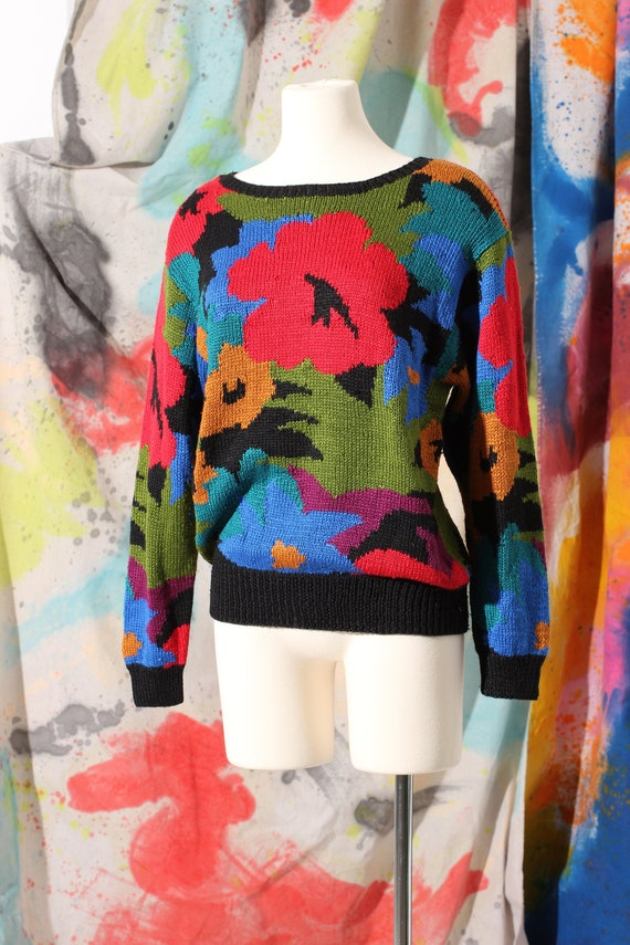 Early 90s Perry Ellis Silk Floral Hand Knit Sweate