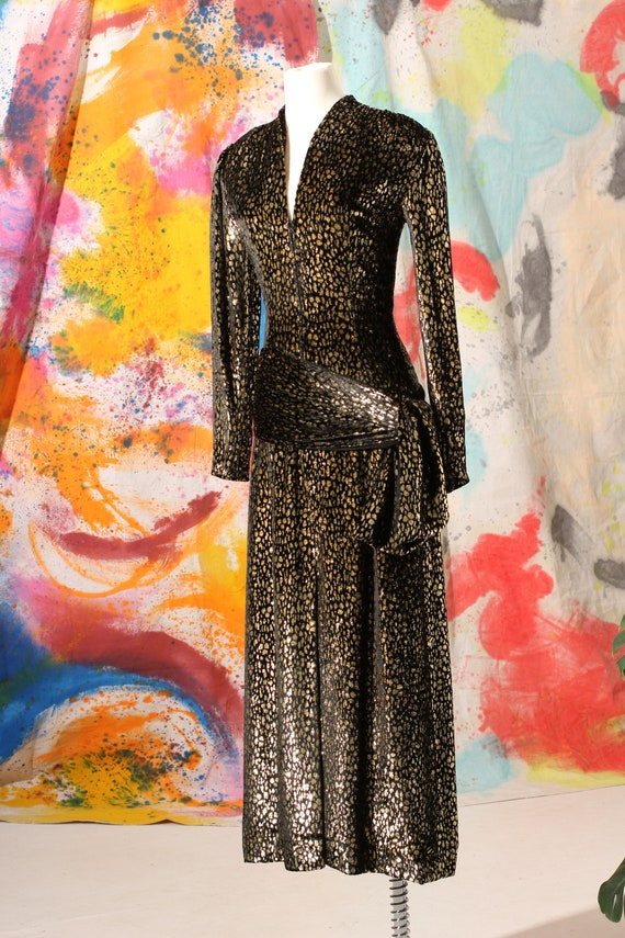 70s/80s Pauline Trigere Silk Velvet Cheetah Print