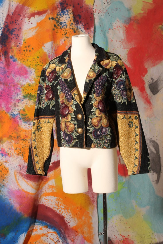 90s Fruit Tapestry Crop Jacket