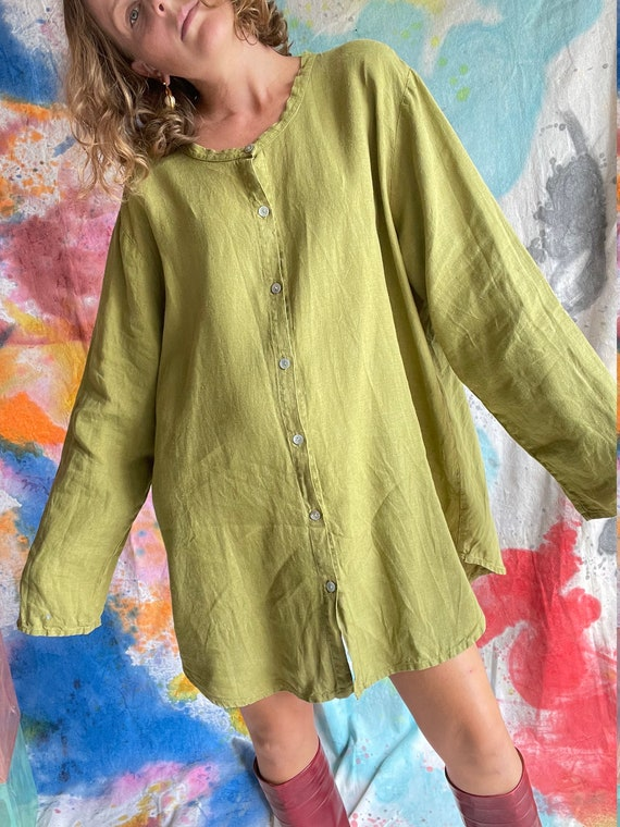1990s Flax Linen Chartreuse Button Up Long Sleeve… - image 4
