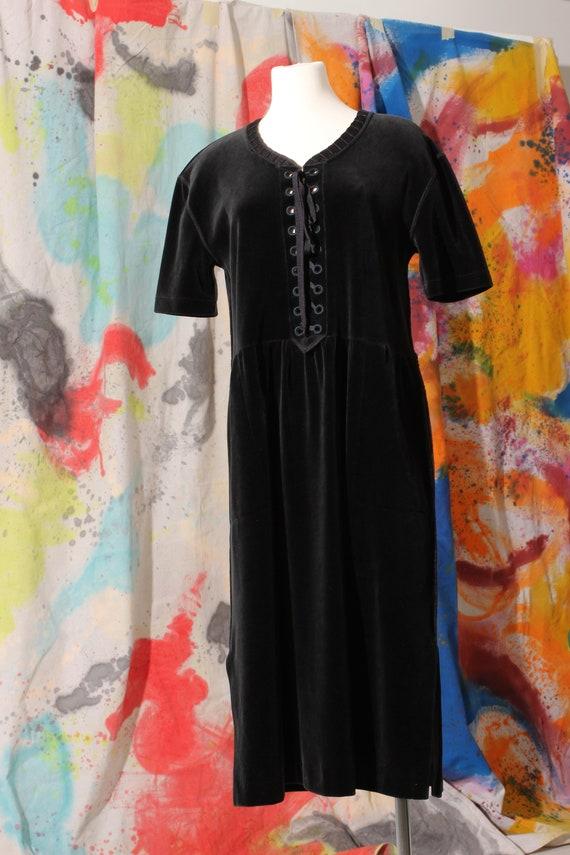 Early 90s Sonia Rykiel Velour Lace Up Midi Dress