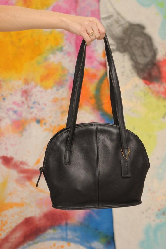 90s Black Coach Over-The-Shoulder Leather Handbag