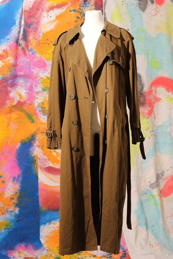 90s Olive Cotton Trench Coat