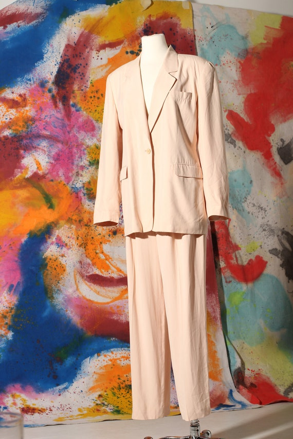 90s Seashell Pink Silk Pant Suit