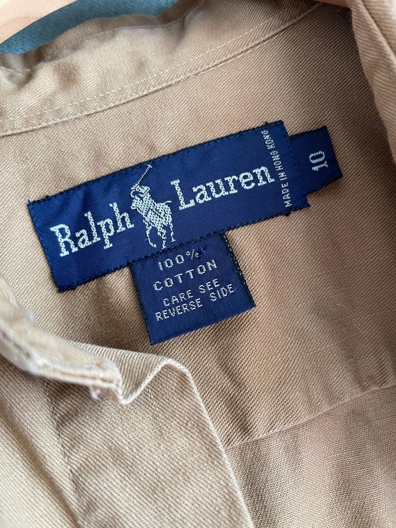 1980s Ralph Lauren Khaki Cotton Safari Shirt / M - image 5
