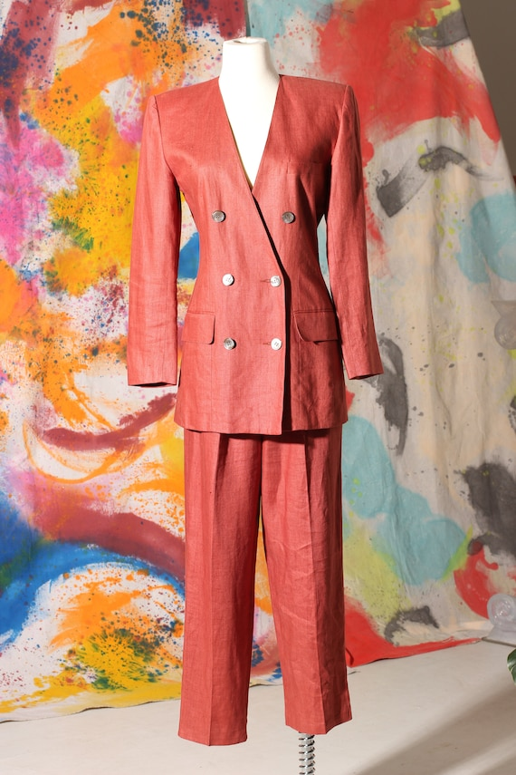 Early 90s Anne Klein II Linen Pant Suit