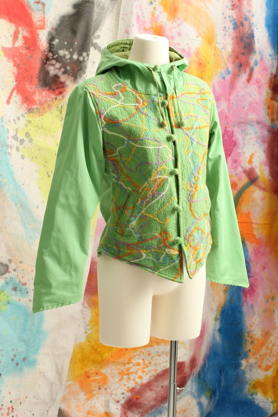 Incredible Art To Wear Hand Made Green Cotton and