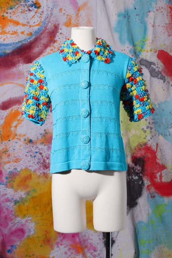 80s Aqua Art-to-Wear Knit Chenille Shag Cardigan