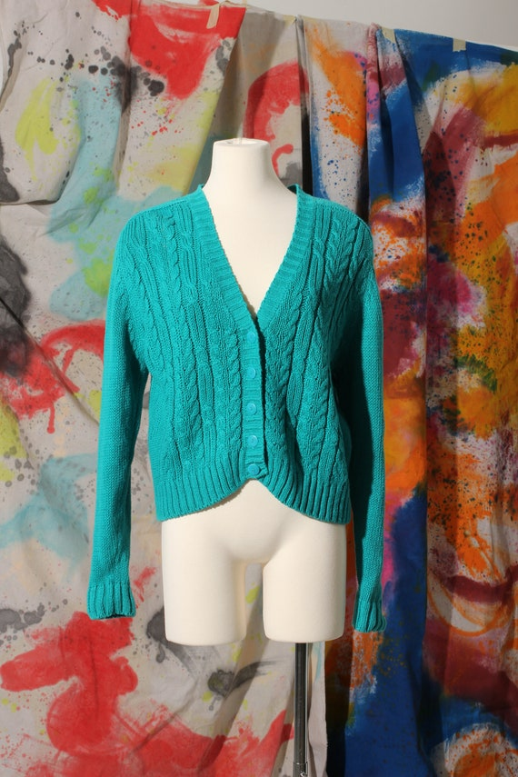 Early 90s Casual Corner Cotton Teal Cable Knit Car