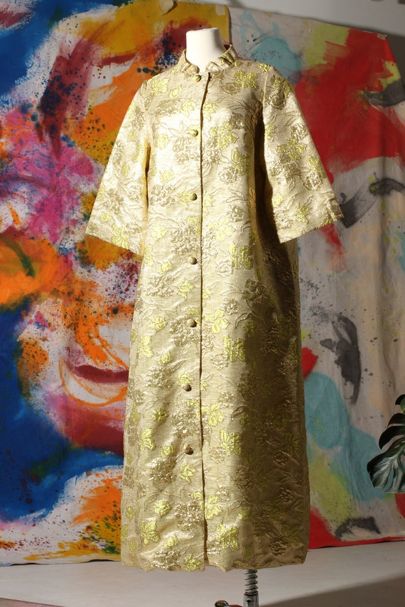 60s Lime and Gold Brocade House Coat
