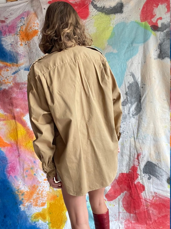 1980s Ralph Lauren Khaki Cotton Safari Shirt / M - image 2