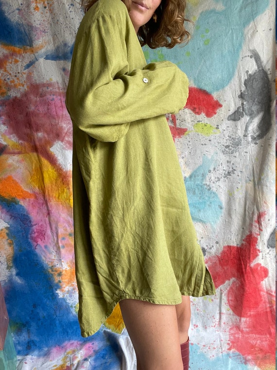 1990s Flax Linen Chartreuse Button Up Long Sleeve… - image 2