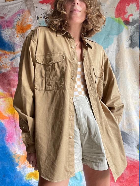 1980s Ralph Lauren Khaki Cotton Safari Shirt / M - image 3