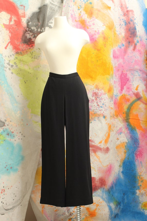 80s Sonia Rykiel Black Wool Open Pleat Wide Leg Tr