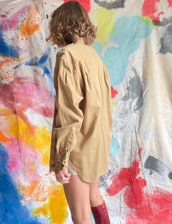 1980s Ralph Lauren Khaki Cotton Safari Shirt / M - image 4