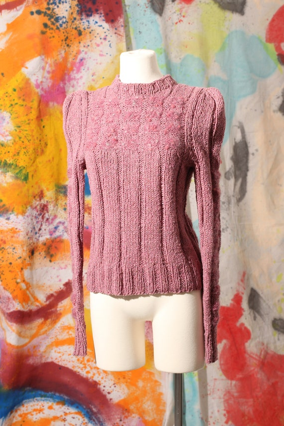 Early 80s Hand Knit Mauve Sweater