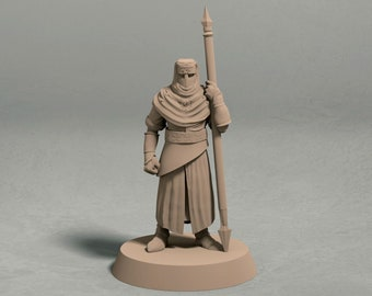 Night's Cult soldier with spear pose 1 miniature – 3D printed tabletop miniatures