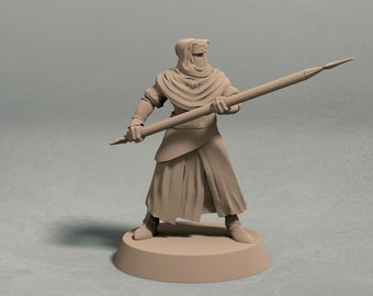 Night's Cult soldier with spear pose 2 miniature – 3D printed tabletop miniatures