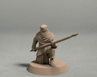 Night's Cult soldier with spear pose 3 miniature – 3D printed tabletop miniatures