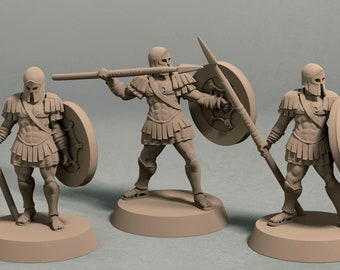 Realm of Eros soldiers with spear pack (3 miniatures) - 3D printed tabletop miniatures