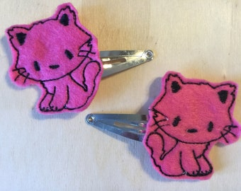UK party bag filler cute black hair clip red hair slide gift for her Sparkly Halloween cat hair clip